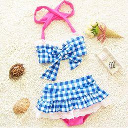 Wholesale Korean Girls Swim Suit - Children's Girls swimwear suit New summer the baby Bathing Korean Fashion casual wave point Swim with clothes kids swinwear