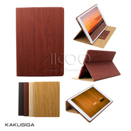 Wholesale Wholesale Wood Business Cards - KAKU Wood pattern Stand Flip Cover Auto Wake Sleep PU Case with Card Slot For iPad 2 3 4 5 6 air 1 2 ipad mini 1 2 3 4 with package
