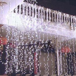 Wholesale Led Christmas Lights Icicle - 8M x 4M 300 LED Wedding Light icicle Christmas Light LED String Fairy Light Bulb Garland Birthday Party Garden Curtain Decor