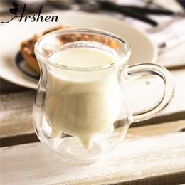 Wholesale Cow Glass Gifts - Arshen 350ml Transparency Handmade Double-layer Cow Milk Glass Mug Jar Heat Resistant Home Office Milk Coffee Tea Mug Gift