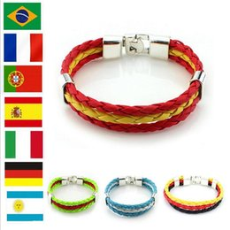 Wholesale fans asian - Olympic Games World Cup Fans Braided Rope Charms Bracelets Hot sale 9 styles fashion PU Leather Bracelets Multilayer Bracelets freeship