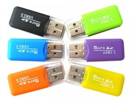 Wholesale Usb Flash Memory Reader - 20PCS LOT Portable USB 2.0 Adapter Micro SD SDHC Memory Card Reader Writer Flash Drive