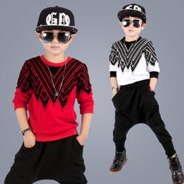 Wholesale Korean Zebra Suit - Baby & Kids Clothing Clothing Sets boys Classic Korean Geometric clothes Cotton long sleeve T-shirt + Harem Pants children autumn sport suit