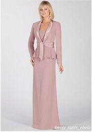 Wholesale Suit Elegant Ladies - Elegant 2016 Blush Pink Chiffon Long Sleeve Mother Bride Dress Suits Sash Floor length Women Lady Party Formal Attire Custom