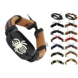 Wholesale Halloween Bracelet Spider - spider genuine leather bracelet adjustable black brown wholesale lots fashion chain hot men women handmade wristband unisex bangle (DJ026)