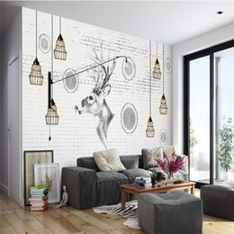 2019 fondo de pantalla para paredes de la habitación simple Extraordinario 3d Nordic Elk Trees Wallpaper Mural Simple Living Room Dormitorio TV Background Wallpaper Arte pintado a mano Paño de pared fondo de pantalla para paredes de la habitación simple baratos