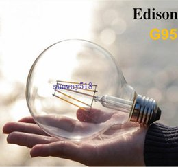 Wholesale Led Big Light Bulbs - Dimmable G95 Big Global light bulb 4W 6W 8W filament led bulb E27 E26 clear glass Edison indoor lighting lamp AC110v-220V Free Shipping