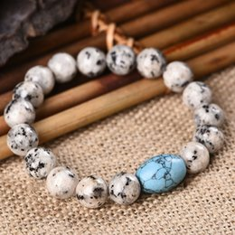 Wholesale Natural Onyx Bracelet - Charm Bracelets Womens Turquoise Lava Onyx Natural Stone Bead Bracelet Hand Charm Bracelet Bead Bracelets
