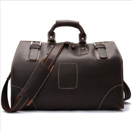 Wholesale Brown Leather Luggage - New 100% Cow Leather (crazy horse leather) large capacity retro travel bag for men and women luggage bag handbags travel case