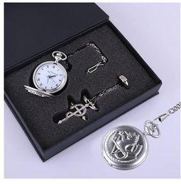 Argentina Fullmetal Alchemist serpiente plata reloj de bolsillo anillo collar Cosplay 3pcs Set Nuevo Suministro