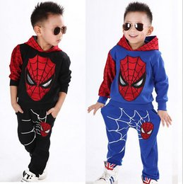Wholesale Boys Pants For Winters - Spring children's clothing for boys Spiderman Cartoon Children sweater top+pant suit