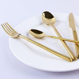 Wholesale Piece Flatware - Wholesale-4-Piece Stainless Steel Cutlery 18K Gold Flatware Set Tableware Dinner Knife Spoon Fork Coffe Spoon Luxury European Dinnerware