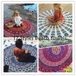 Wholesale Yoga Hand Towels - 50pcs Round Printed Shawl Mandala Tapestry Yoga mat Chiffon Beach Throw Bohemian Towel 150*150cm by DHL BKT056