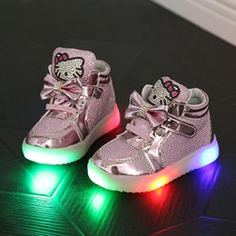 Wholesale Girls Rhinestone Shoes - Children Shoes New Spring Hello Kitty Rhinestone Led Shoes Sports Girls Princess Cute Shoes With Light Size 21-30