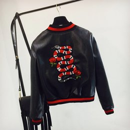 Wholesale Polyester Leather Jacket - 2017 autumn clothes new embroidered coat PU embroidery snake motorcycle flying leather jacket Baseball Jacket girl teen coat