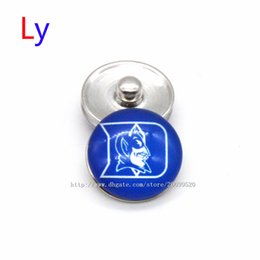 Wholesale Devil Pendant Wholesale - Noosa chunks Pendant Bracelet 18mm Snap button Duke Blue Devil NCAA University sports interchangeable jewelry for Sports fans NE0035
