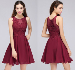 Wholesale Dresses For Young Girls - Burgundy Lace Beaded A Line Chiffon Short Homecoming Dresses Cocktail Party Dresses For Young Girls Jewel Neck Cheap Graduation Gowns CPS707