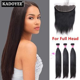 Wholesale Lace Fr - Brazilian Human straight hair 3bundles with 13X4 closure Lace Frontals With 3 Bundles,Silk Straight Human Hair With Fr