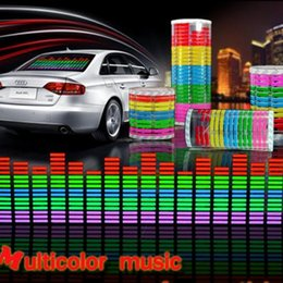 Wholesale El Car Flashing Sticker - Free Shipping Sound Music Activated EL Sheet Car Sticker   Equalizer Glow EL LED Flash Light Blue Multicolor