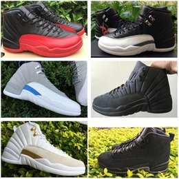 Wholesale Wedge Boots Online - 2016 New Retro 12 Basketball Shoes Men 100% Original Sneakers Cheap Online J12 XII PSNY French Blue Boots Size Eur 41-47
