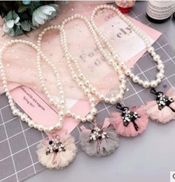 Wholesale Necklace Shirt Girls - Girls pearl necklace Dancing girls boutique accessories children lace Bowknot Beading dress shirt Jewelry kids all-match Charms G1422