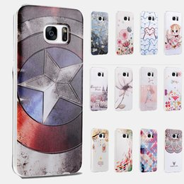 Wholesale Flowers America - For Galaxy S7 S7Edge 3D Embossed Captain America Flower Clear Soft TPU Gel Cartoon Phone Case Cover for Samsung G9300 G9350