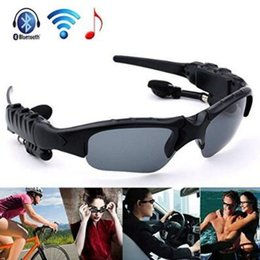 Wholesale Iphone Goggle - Bluetooth Sunglasses Outdoor Glasses Bluetooth Headset Music Stereo Glass Wireless Headphones With Mic for Andorid iPhone CCA7468 10pcs
