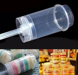 Wholesale Wholesale Christmas Containers - Plastic Material Transparent Cake Pushing Cylinder Desserts Push Up Pop Containers Twist Cake Mold Cup Push