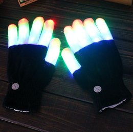 Wholesale Colorful Cotton Gloves - LED Light Up Gloves Color Changing LED Flashing Gloves Colorful Light Flash Finger Glove Christmas Halloween New Year