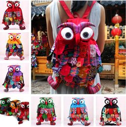 Wholesale Patchwork Owl Bags - Colorful Ethnic Style Kids School Backpack Preschool Bag Toddler Cute Lunch Bag Owl Backpack Cartoon Animal Backpack Shoulder Bag