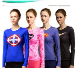 Wholesale Wholesale Under Shirts - Women Compression Under Base Layer Top Tight T-Shirt Super Hero Cycling Jersey High Elasticity Quick Dry Long Sleeve