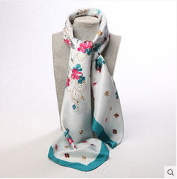 Wholesale Digital Printed Satin - Wholesale-high quality silk kerchief Women Satin scarf kerchief female fashion scarf sillk women scarf Digital printing shawl-b174-1