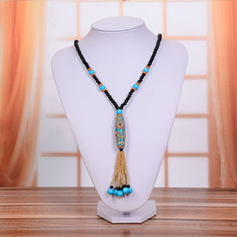 Wholesale Nepal Silver - New Fashion Ethnic Nepal Beads Tibetan Silver Pendant Necklace Handmade Lampwork Beads Necklaces Hot Sale Vintage Long Necklace