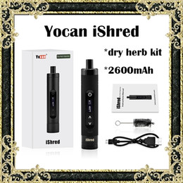 Wholesale Ceramic Fashion - Authentic Yocan iShred Dry Herb Vaporizer Fashion E Cigarette Kits 2600mAh Battery Full Ceramic Chamber Built-in Herb Grinder LCD Display