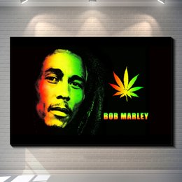 Wholesale Landscape Poster Paints - Vintage Abstract Reggae Music Founder Bob Marley painting picture canvas poster Home Bar Pub Garage Art Decorative Print Canvas Painting