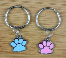 Wholesale Enamel Paw Charms - Mixed 50pcs Vintage Silver Enamel Dog Paw Prints Charm Keychain Ring For Keys Car Key Ring Souvenir Gift Couple Accessories Z176