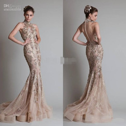 Wholesale Elie Saab One Shoulder Dress - Sexy See Through Organza Button Back Mermaid  Trumpet Elie Saab Evening Formal Prom Dresses With High Neck And Luxurious Silver Appliques