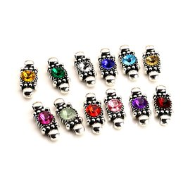 12pcs Antique Silver Plated Colorful Crystal Connectors Pendants for Bracelet Jewelry Making DIY Handmade Craft 20x8mm