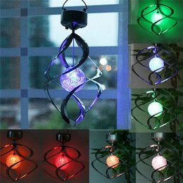 Wholesale Garden Decor Led Light - Xmas Color Changing Solar Powered Garden Lawn Light Outdoor Courtyard Hanging Spiral Lamp LED Wind Spinner garden tree lights decor