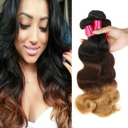 Wholesale Ombre Bundle Weave - Grade 8A Ombre Peruvian Body Wave Virgin Human Hair Extensions 3 Tone Ombre 1B 4 27 Ombre Body Wave Remy Brazilian Hair Weave Weft Bundles