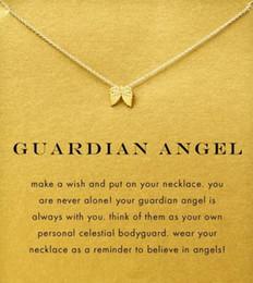 Argentina Con tarjeta! Collar Dogeared lindo color plata y dorado con alas de ángel (Guardian Angel), sin fundido, envío gratis y alta calidad. supplier angel cards Suministro