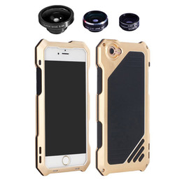 Wholesale Iphone Case Kits - Waterproof shockproof aluminum metal hybrid armor phone cases covers with camera lens kit for iphone 5 5s 6 6s plus
