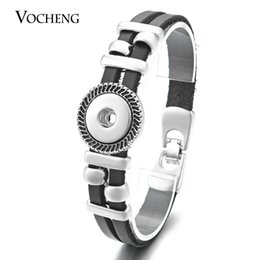 Wholesale Genuine Crystal Bracelets - NOOSA Ginger Snap Bracelet Black Genuine Leather 18mm Button Jewelry VOCHENG NN-447