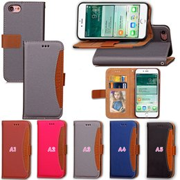 Wholesale Green Transparent Purse - Hybrid Hit Color Wallet Leather For Iphone 7 I7 4.7  5.5 7Plus Plus Flip Cover Frame Photo Card Slot TPU Holder Pouch Purse Dual Case Skin