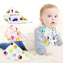 Wholesale Nurses Cartoons - New Baby Bibs Towel Triangle Burp Saliva Cloths cartoon Infant Toddler Bandana Scarf Double Layers Kids Nursing Bibs B0463