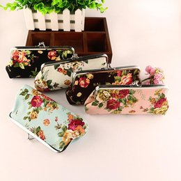 Wholesale Wholesale Cute Coin Purses - Rose Flower Canvas Coin Purse hasp long size Vintage flower women clutch delicate phone bag children cute money bag small gift 5 colors W609