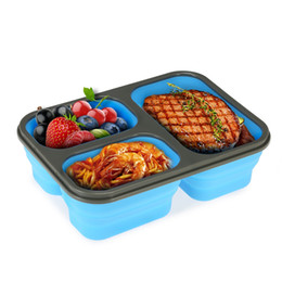 Wholesale Collapsible Storage Containers - Silicone Collapsible Portable Food Storage Container Large Capacity Bowl Lunch Bento Box Folding Lunchbox Eco-Friendly 50pcs OOA2171