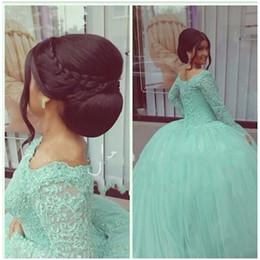 Wholesale Lace Dress Mint - Mint Green Long Sleeve Quinceanera Dresses 2016 Ball Gown Sweet 16 Year Dress vestidos de debutante Sweet 16 Dresses