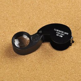 Wholesale Lighted Magnifying Glass Lamps - High quality Magnifier Magnifying Glass 40X 25MM Lens Jewelers Loupe Light Handheld With LED Lamp Magnifying Glass Microscope Lupas De Dumen