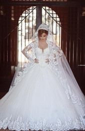 Wholesale Rich Wedding Dresses - Arabic Style Vintage Wedding Dresses 2016 Plus Size Wedding Dress Rich Lace Ball Gown Sexy Sweetheart with Long Sleeves Bridal Gowns